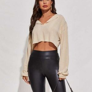 3 for $45 Ribbed Notched Raw-Cut Crop Top new